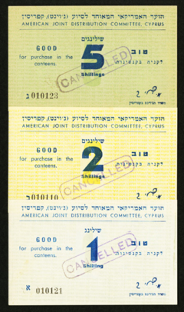 Camp chits issued by Israel American Joint Distribution Committee set up in Cyprus in the aftermath of World War II to assist Jewish refugees from former German concentration camps.