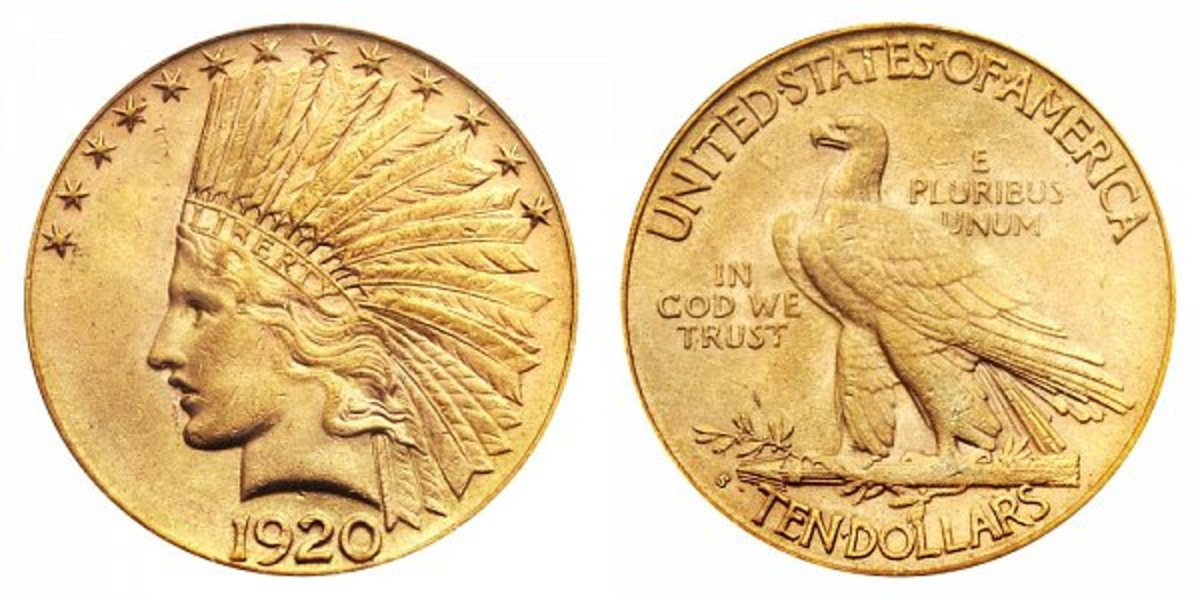 With only 118 specimens certified by the major grading companies, the 1920-S gold eagle draws a pretty penny at auction.  A specimen in MS-67 PCGS sold for $1.7 million in 2007. (Image courtesy of Heritage Auctions)