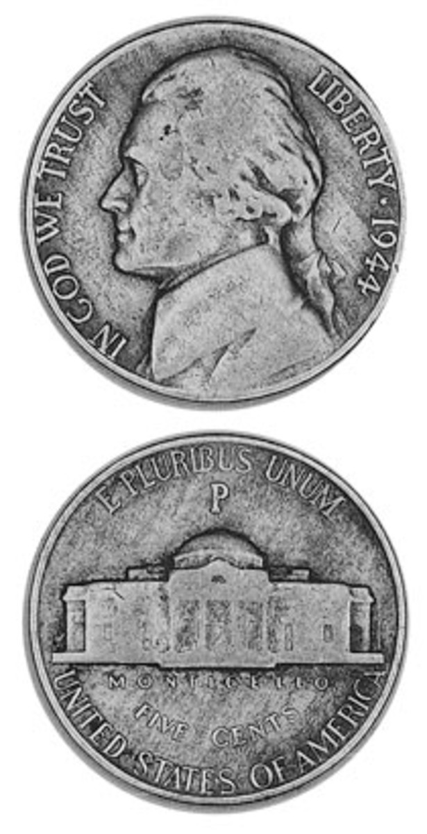 """The silver war nickels 1942-1945 discolored and turned rather ugly. To indicate the special alloy, the Mint enlarged the mintmark and put it over Monticello. It also gave Philadelphia a """"P"""" mark for the duration. It was a mintmark that returned to Jeffersons in 1980."""
