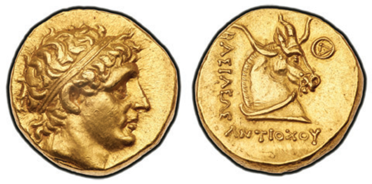 An exceedingly rare Antiochos gold stater of the Seleukid Empire features a bridled horse head on the reverse.