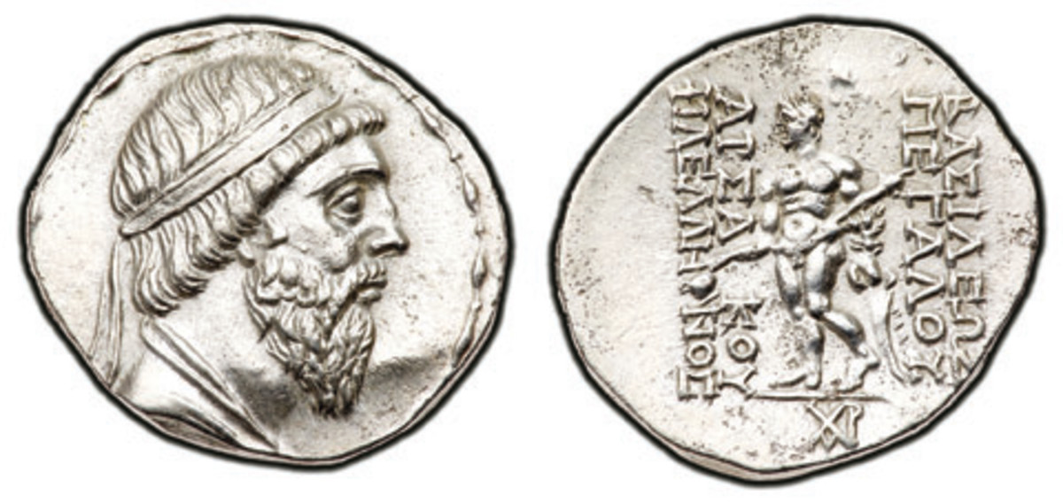 A large silver tetradrachm issued by Mithradates I of Parthia struck circa 164-132 B.C.E. will highlight the silver issues to be displayed in Long Beach.