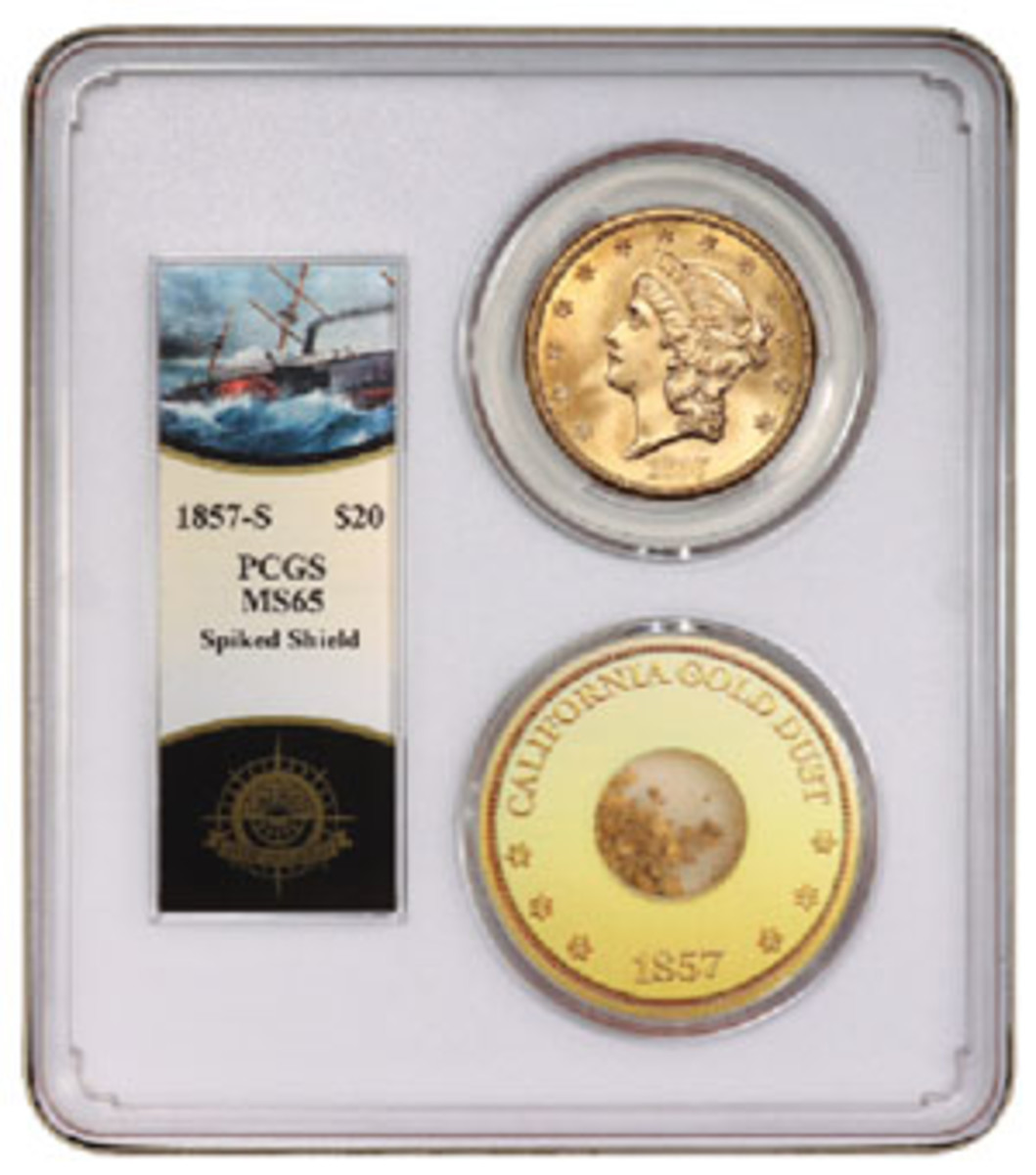 Slabbed with a pinch of gold, this 1857-S double eagle is graded MS-65 by PCGS.