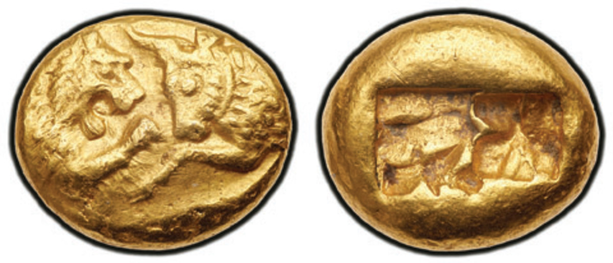 The world's first gold coin, a stater of King Kroisos, will lead a display of coins issued by the tyrants of the Middle East.