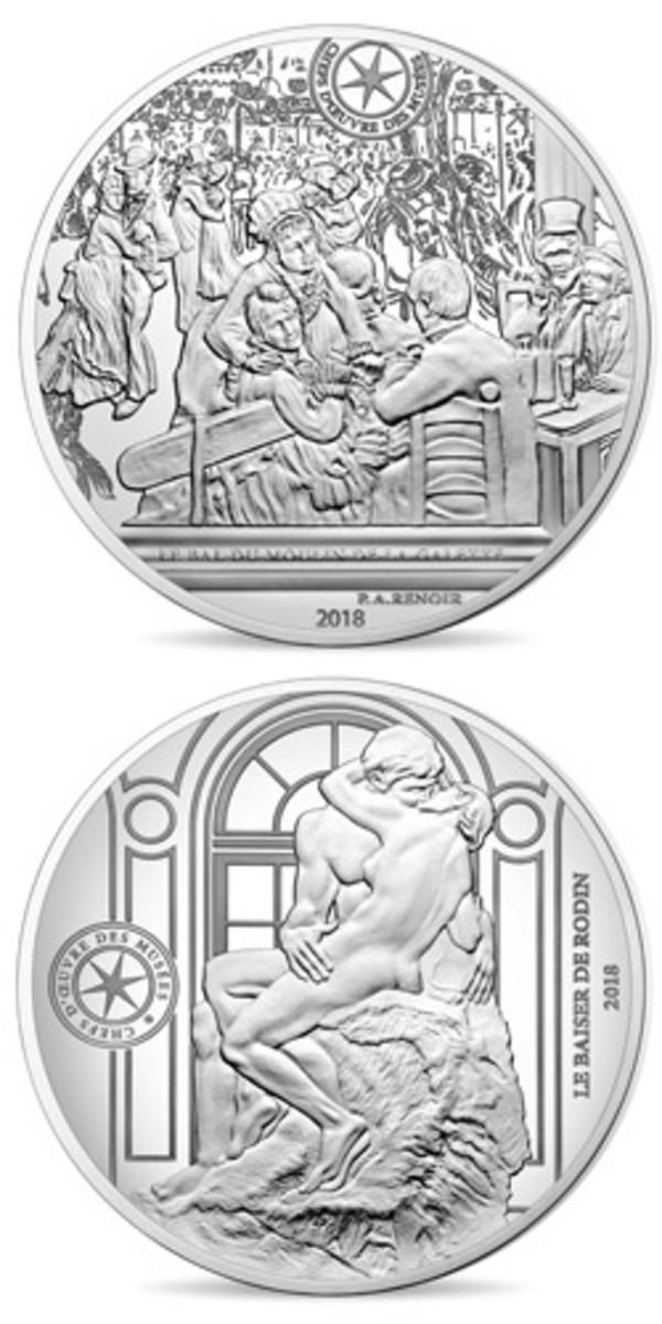 """Renoir's """"Le bal du Moulin de la Galette"""" (top) and Rodin's sculpture """"Le Baiser"""" (bottom) feature on the reverses of this year's silver 10 euro pair struck by Monnaie de Paris as part of its series honoring great works of French art. (Images courtesy Monnaie de Paris)"""
