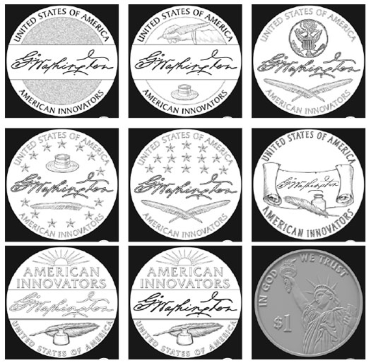 Which would you choose? The Citizens Coinage Advisory Committee rejected all eight signature obverse designs above. The final image is the reverse.