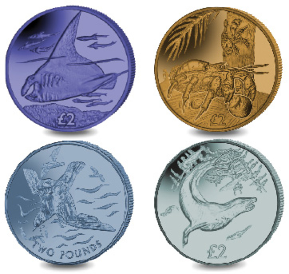 Reverses of Pobjoy Mint's latest £2 titanium coins. Top from left: Manta Ray and Coconut Crab (BIOT). Bottom from left: Blue Petrel (BAT) and Leopard Seal (South Georgia and the South Sandwich Islands). (Images courtesy Pobjoy Mint)