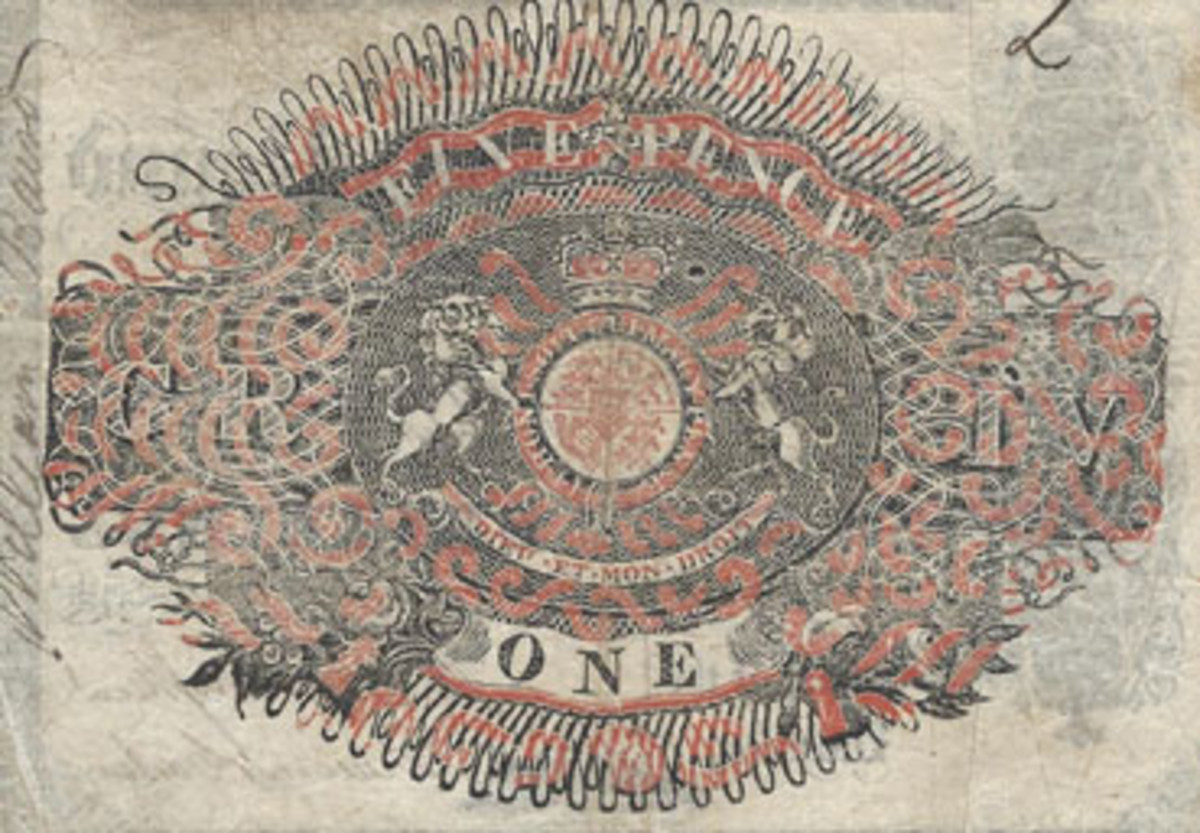 Sir William Congreve perfected the compound plate for producing the ornate revenue stamp designs found on backs of many earlier English and Scottish bank notes.