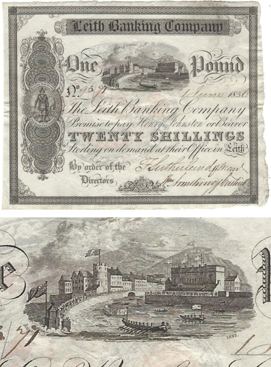 At top, Leith Banking Company 1 pound commemorative, third variety with Johnston as payee. The vignette is the same as that used for the 5 pound issue as well. Date is 1 June 1836. At bottom, close-up view of the 1 and 5 pounds vignette. Notice the placement of the month Aug. at left, year date 1822 at right.