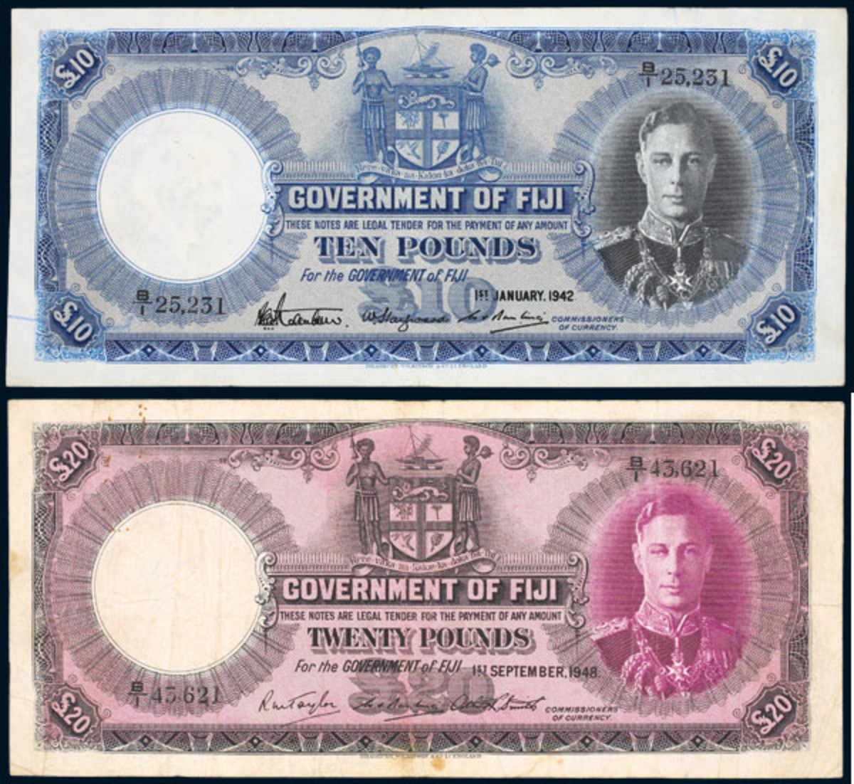 The George VI Fiji £10 (Jan. 1, 1942, P-42a) and £20 (Sept. 1, 1948, P-43d) that realized $14,564 and $10,013 respectively at Noble Numismatics' Sydney sale in November.
