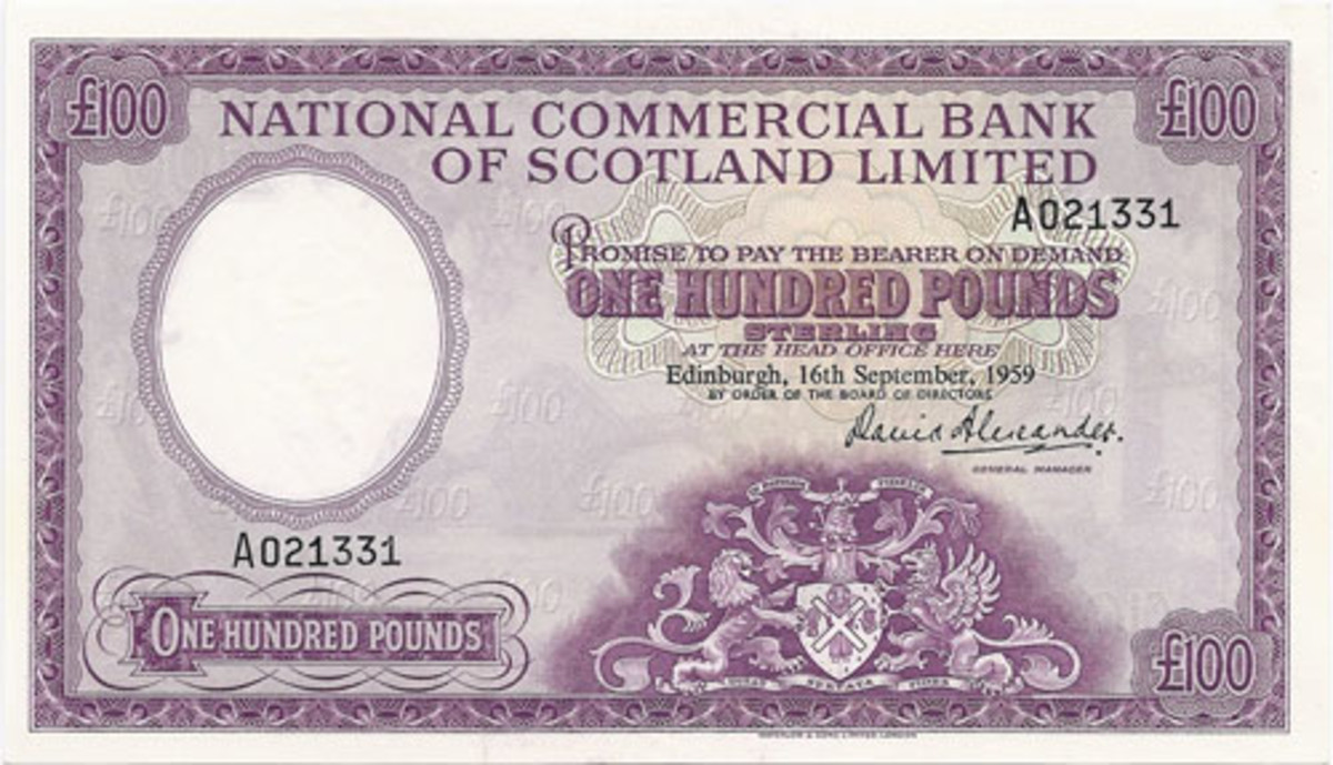 Another 100 pounds issue from the National Commercial Bank of Scotland Limited dated 16 September 1959. The Royal Arms design is featured at lower center right. This bank was in operation for only 10 years. (Image courtesy Pam West)