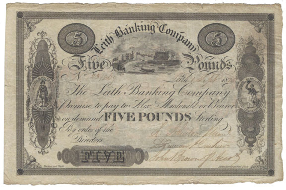 The large and impressive 5 pounds commemorative issue, dated 1 Sept. 1825.