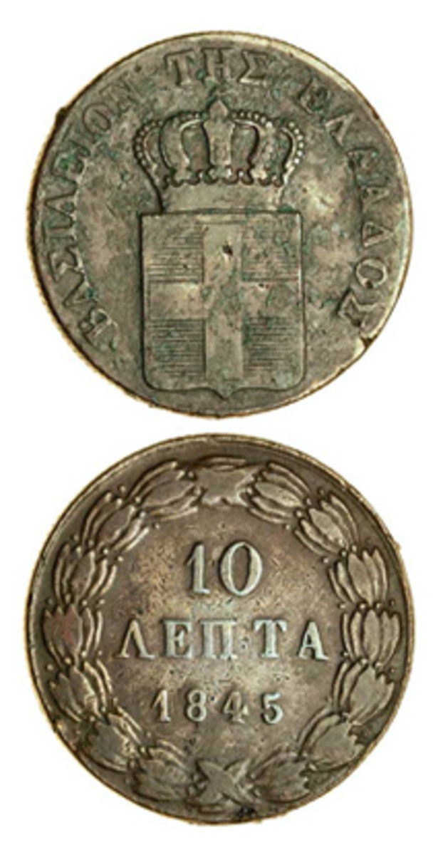 The 1845 10 lepta of Otho struck, K-25 that sold in London in late April for 200x upper estimate or $15,539 in cleaned aVF condition from the George Cassim collection. (Images courtesy and © Spink, London)