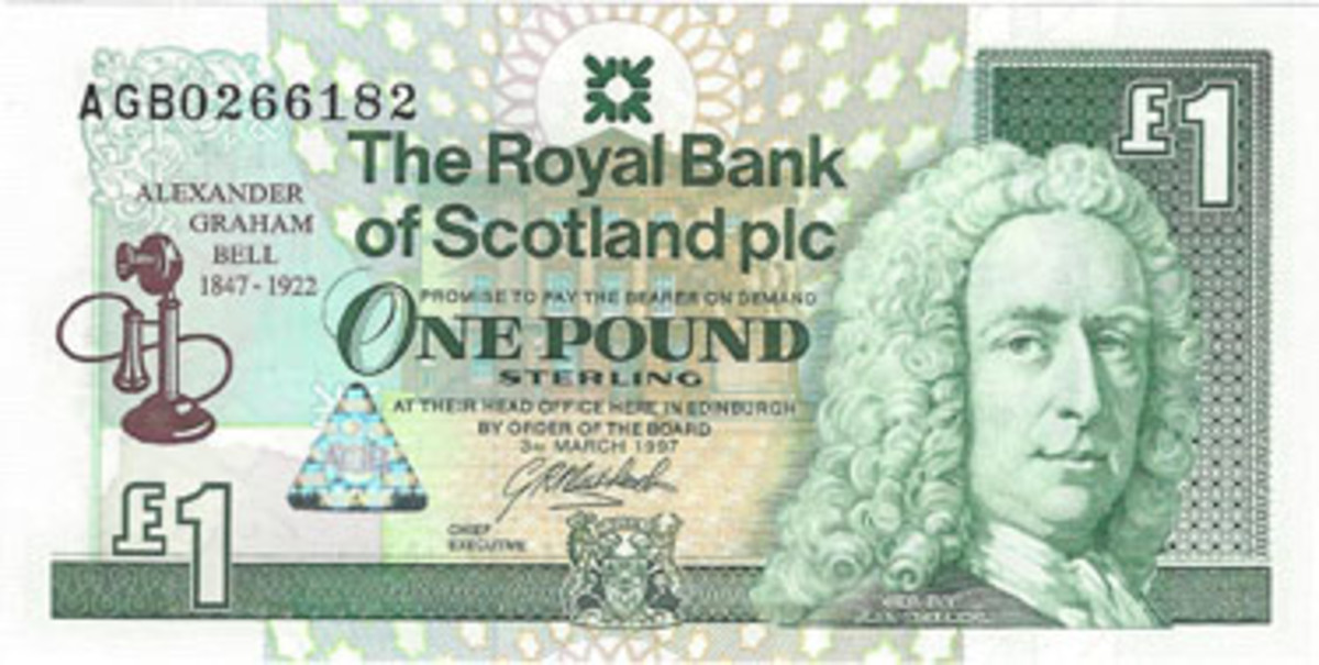 This 1-pound issue from the Royal Bank of Scotland Limited is one of the group of modern commemorative pieces emanating from Scotland.