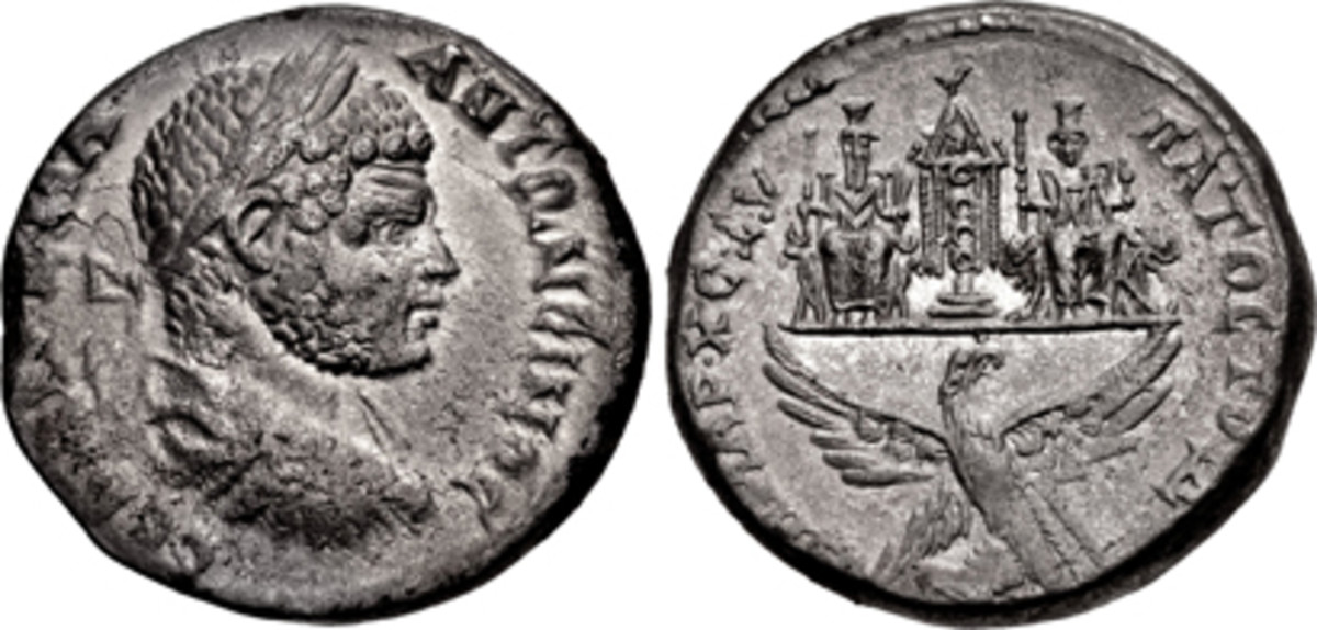 Tetradrachm struck at Hierapolis for the Caracalla c. 215-217 CE whose reverse is devoted to cult figures of Haddad. An extremely rare coin, it fetched $16,800 in gVF, or over 5 times estimate. (Images courtesy CNG)