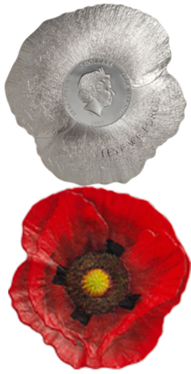Obverse and reverse of Cook Island's poppy-shaped $5. (Images courtesy CIT)