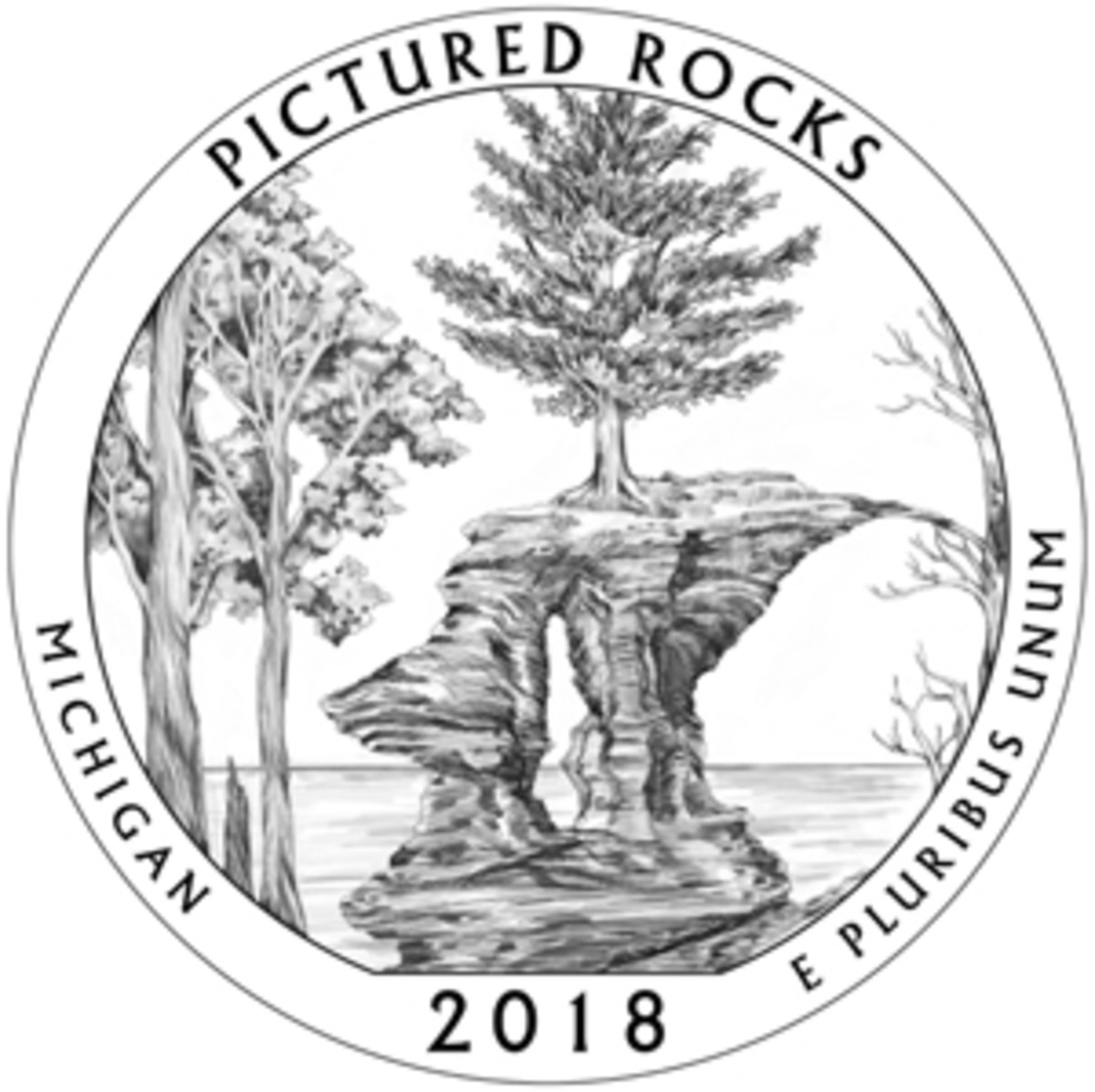 Approved reverse design for the upcoming 2018 America the Beautiful quarter honoring Pictured Rocks National Lakeshore in Michigan.