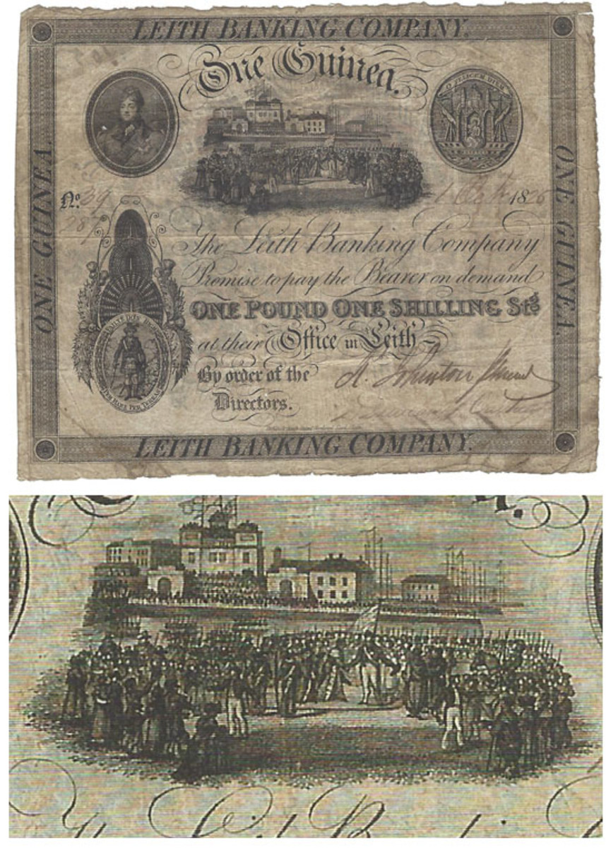 At top, the 1 guinea commemorative. This denomination was printed without the month and year under the special vignette. Date is 1 Oct. 1825. At bottom, close-up of the special 1 guinea vignette. It lacks the printed month and date.