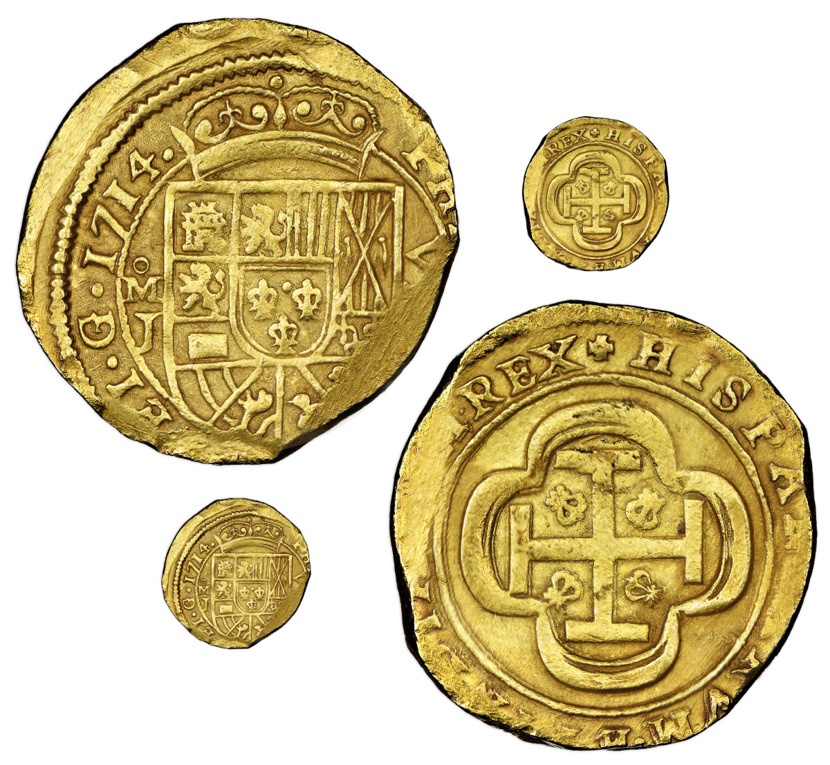 A gold cob 8 escudos dated 1714 with assayer's initial J was previously used as a showpiece for the Real Eight Company's finds and pictured in a 1965 National Geographic article.