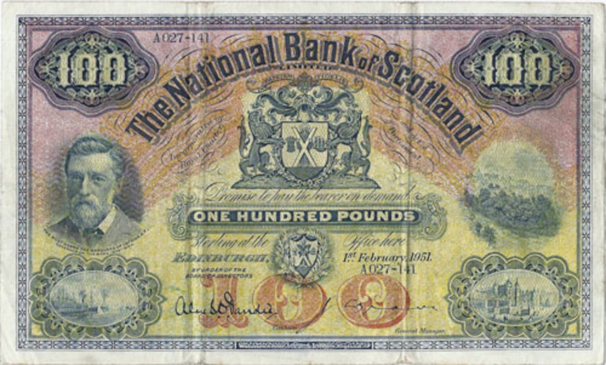 Here is a colorful 100 pounds issue from The National Bank of Scotland Limited dated 1 February 1951. The man portrayed at left is the Marquess of Lothian; Royal Arms at center. All such high values are rarely available on today's market. (Image courtesy Pam West)
