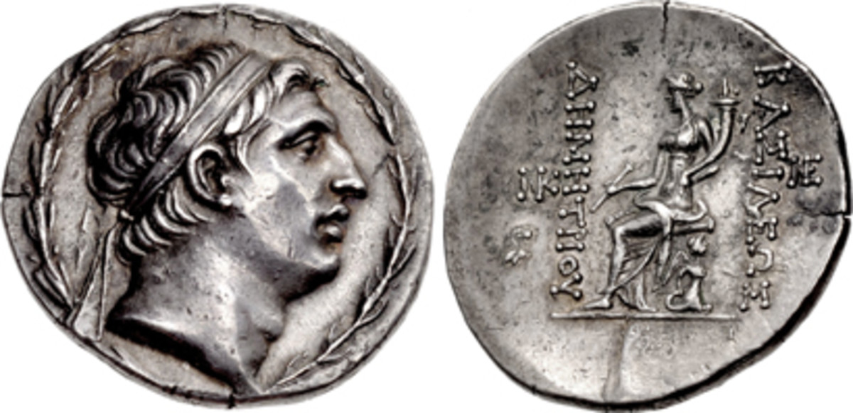 Tetradrachm of the Seleukid Empire struck for Demetrios I Soter c. 155/4-150 BCE, which realized $14,400 in EF. (Images courtesy CNG)