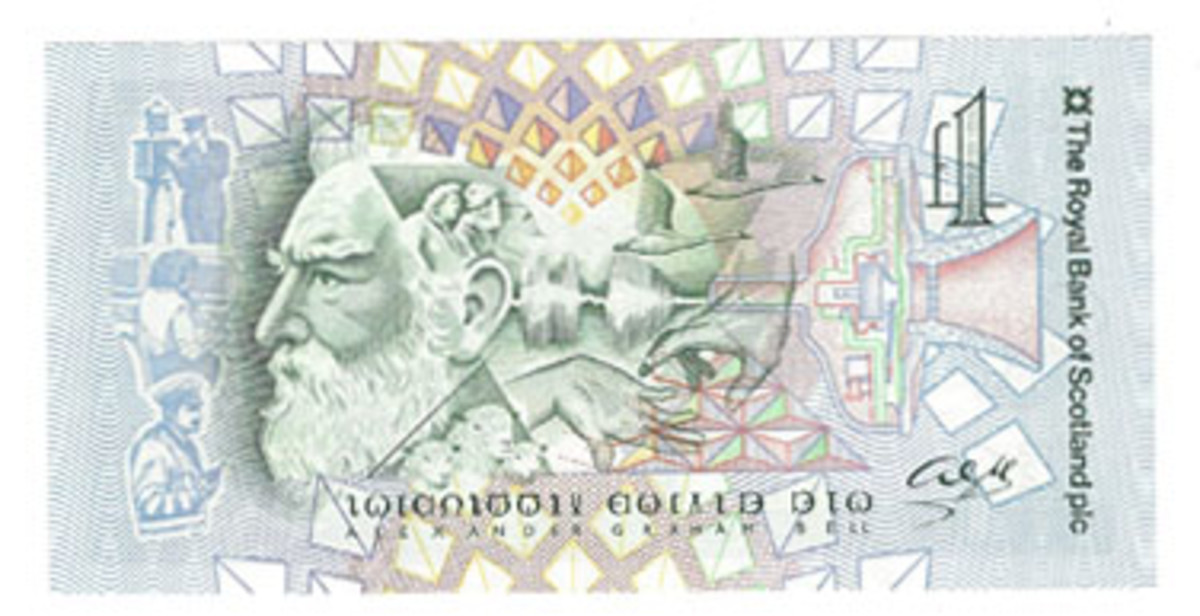 On this 1987 note, the 150th anniversary of Alexander Graham Bell's birth is marked along with design elements honoring him.
