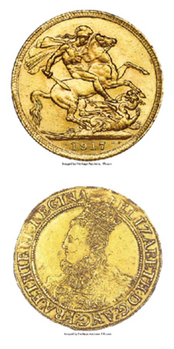 At top, reverse of the rare and top-selling 1917 Great British sovereign that realized $28,800 at Heritage's successful Long Beach sale. At bottom, obverse of 6th issue hammered Elizabeth I gold pound struck at Tower Mint, which sold for $21,600 in AU55 NGC. (Image courtesy www.ha.com)