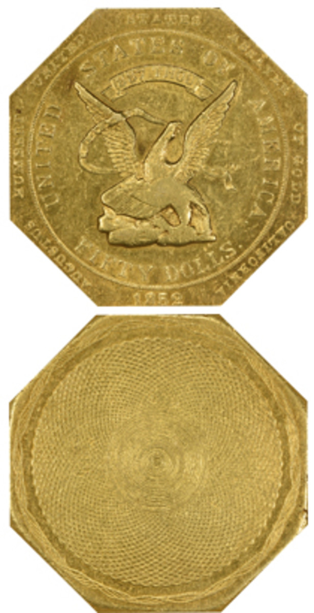 """Bid to $276,125 was this 1852 gold slug with """"Augustus Humbert, United States Assayer of Gold, California"""" around the rim and .887 THOUS fineness."""