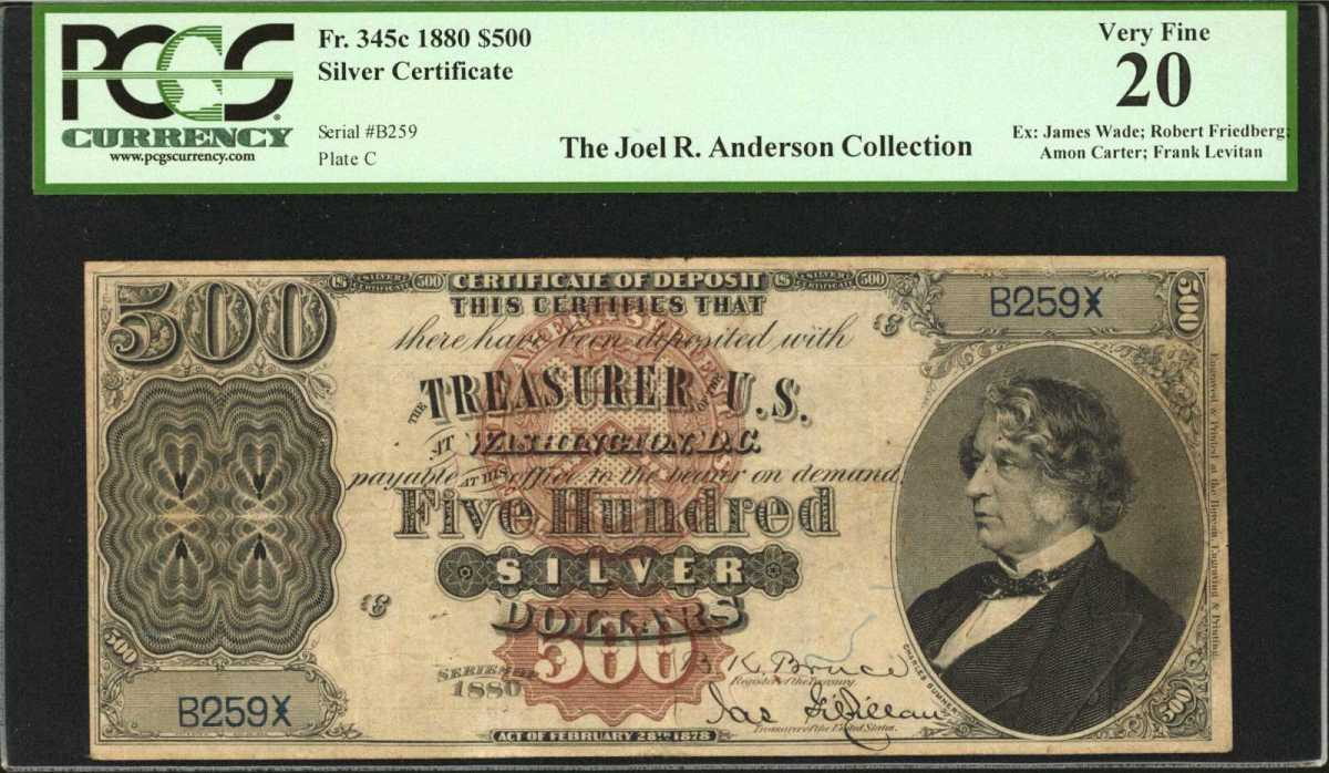 This exceptionally rare 1880 $500 Silver Certificate of Deposit, graded PCGS Currency Very Fine, commanded $750,000 at auction.  Sold as part of the Joel R. Anderson Part II collection, it is one of just wo examples of the catalog number in private hands. (Image courtesy of Stack's Bowers)
