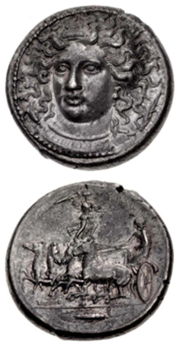 """Masterwork: Kimon's rendering of the nymph Arethousa dominates this Sicilian silver tetradrachm of the Second Democracy c. 406-405 BCE. The quality of this piece caused the CNG cataloger to wax poetic: """"The composition's beautiful three-dimensional perspective is augmented by a fluid style that effectively conveys the natural motion of the nymph's hair in her liquid environment. [That] environment is further emphasized by the placement of the dolphins, who weave themselves within her hair in a playful manner. The serenity of Arethousa's countenance, with her full, pouting lips and other-worldly gaze from her almond-shaped eyes, conveys a sense of her place aloof from the realm of man."""" In EF the coin romped away to take $270,000. (Images courtesy CNG)"""