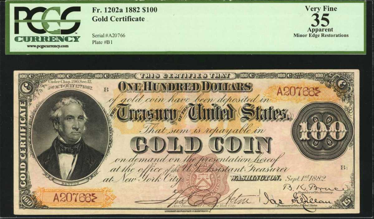 "An incredible ""Triple Signature"" 1882 $100 Gold Certificate, is one of just three pieces known and the only remaining in private hands.  The face of the note has a portrait of Missouri Senator Thomas Hart Benton, nicknamed ""Old Bullion.""  The note sold for $720,000.  (Image courtesy of Stack's Bowers)"
