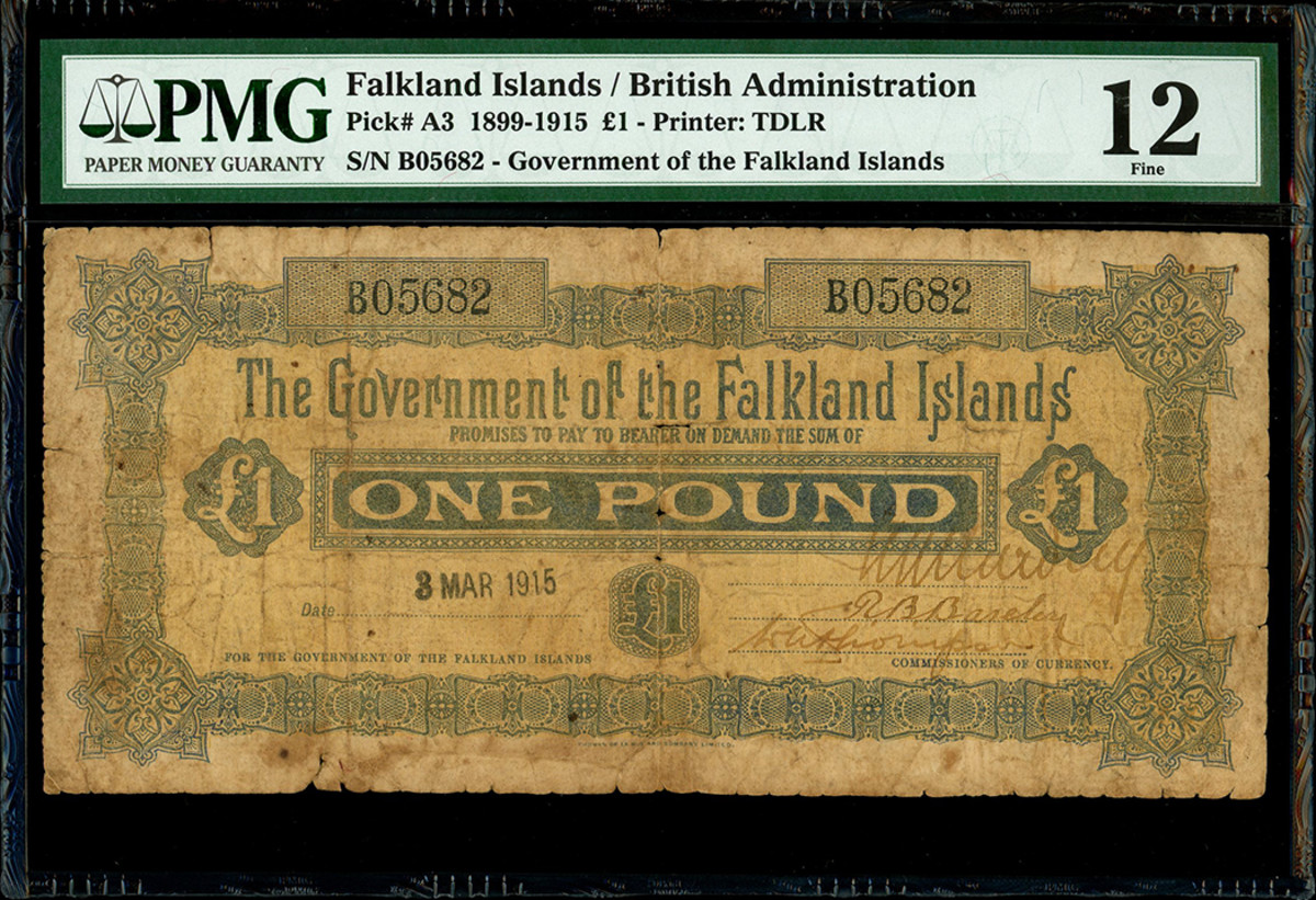 This Falkland Islands pound note dated 1915 was among the first paper money issued by the British administration; very few are known to have survived today.