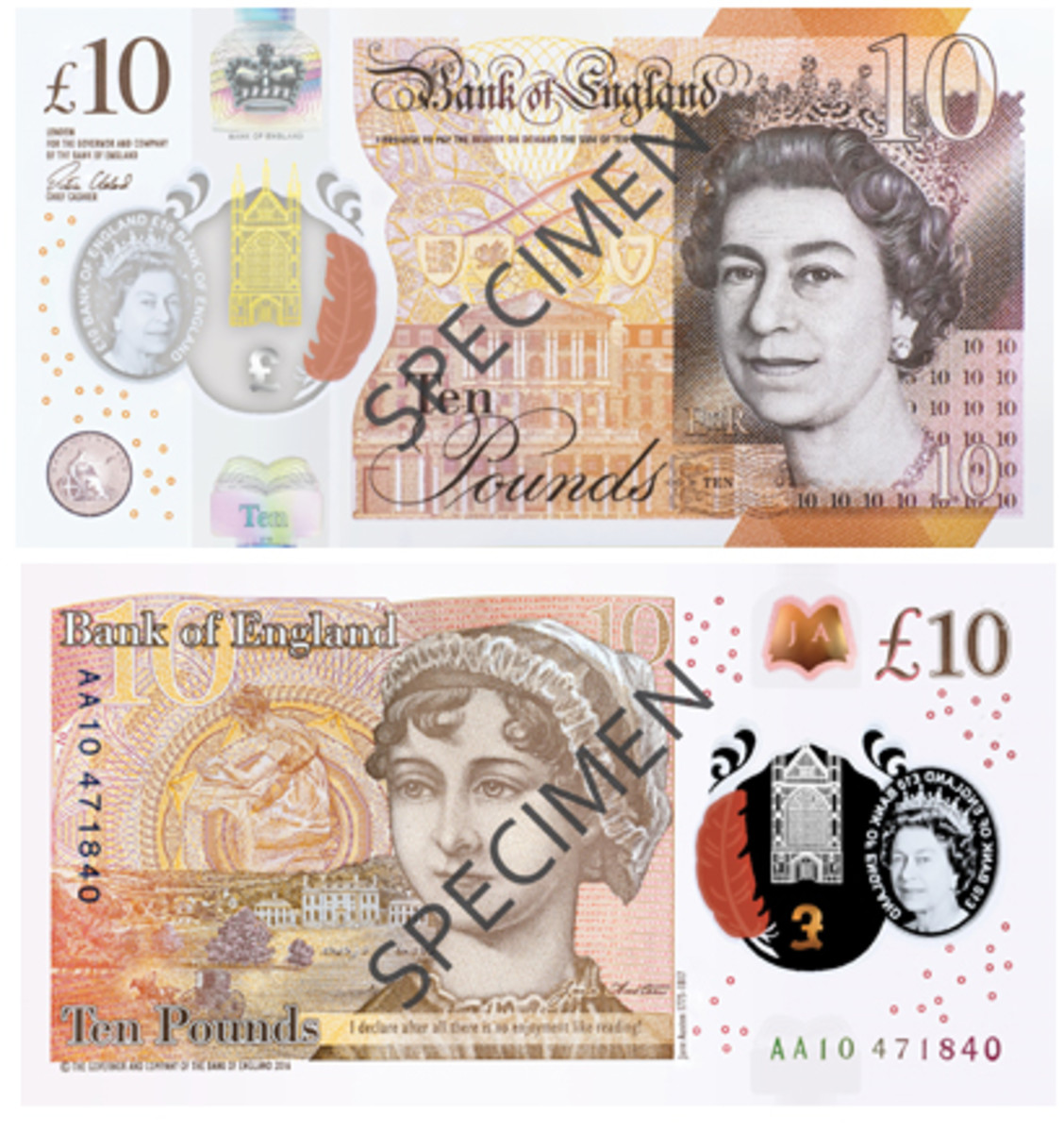 Face and back of the Bank of England's new Jane Austen polymer £10 note. (Images courtesy and © Bank of England [2017])
