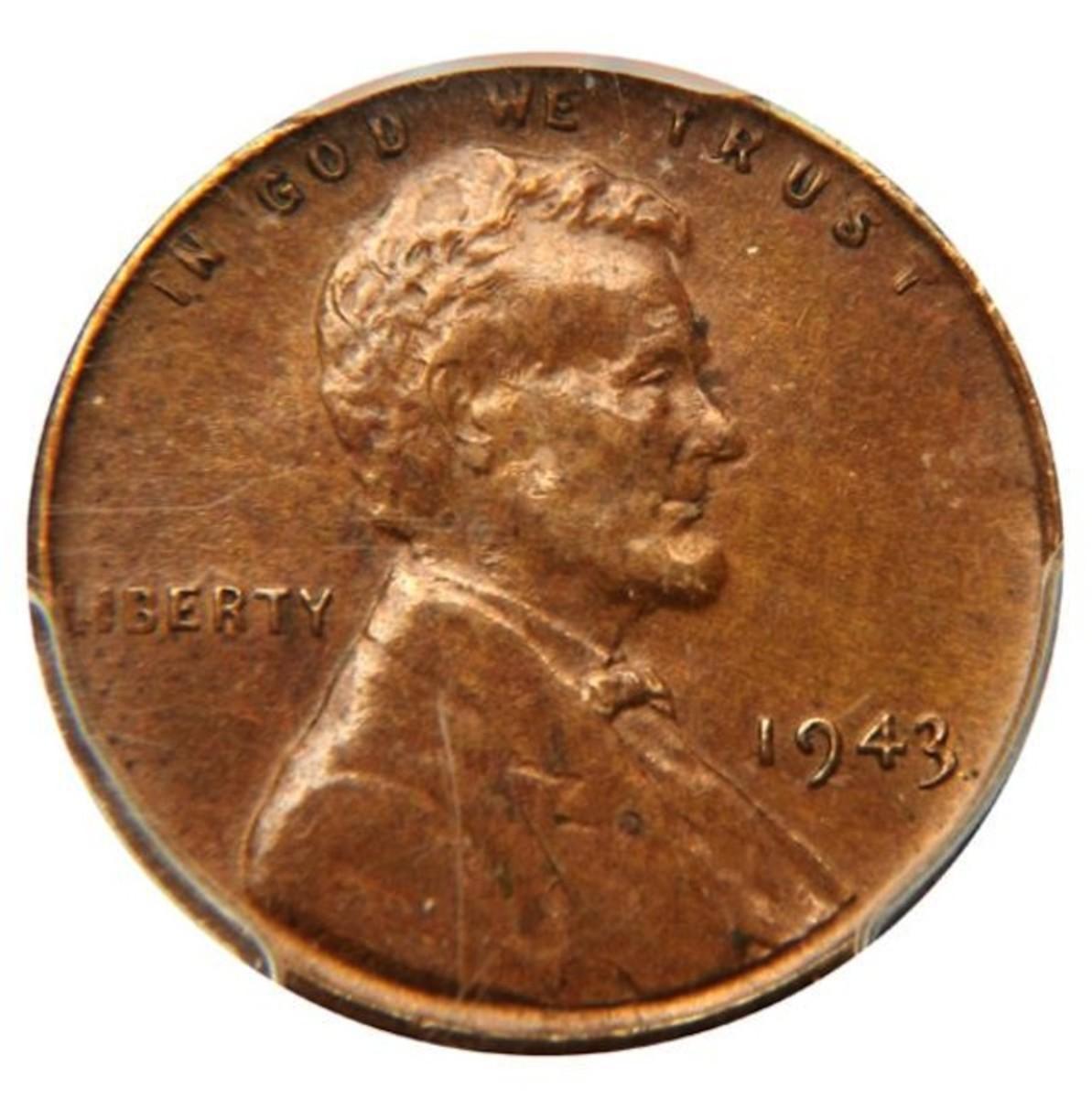 This 1943 bronze mint error cent in AU-55 brought $329,000.