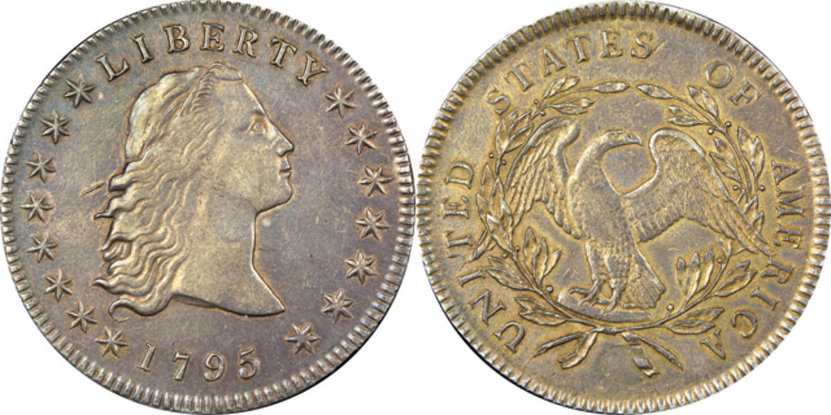 Two plugs have been identified on this 1795 Flowing Hair silver dollars. Heritage Auctions www.HA.com photographs.