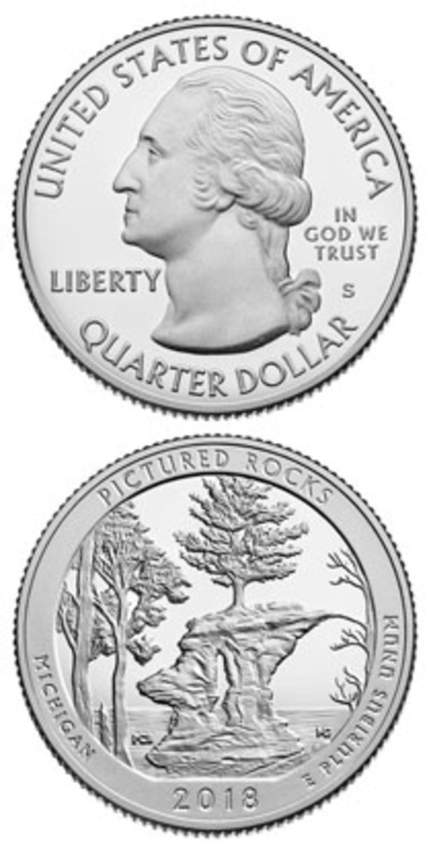 The 2018-S Pictured Rocks quarter proof. (Image courtesy www.usacoinbook.com)