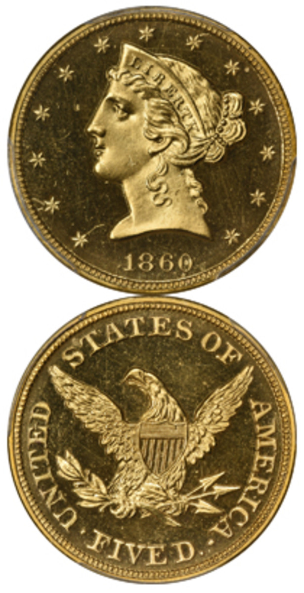 Leading the bidding Sept. 15 at Kagin's Auctions was this proof 1860 $5 gold piece. It fetched $138,032.50.