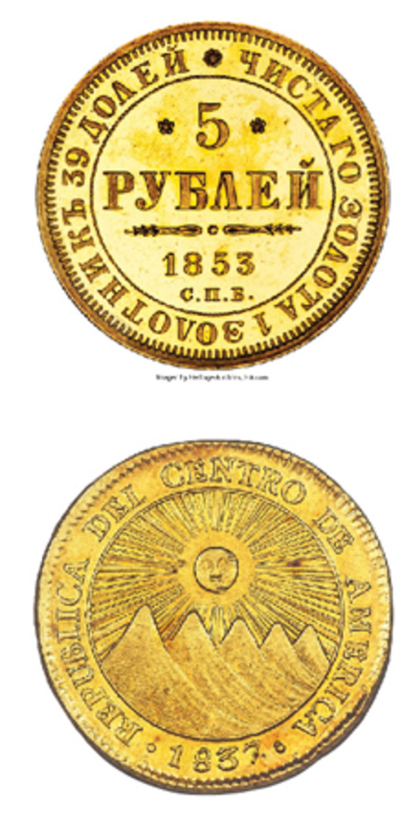 At top, an extremely rare Nicholas I gold proof 5 rubles of 1853 struck at St. Petersburg mint that fetched $21,000 graded PR62 Ultra Cameo NGC. At bottom, a Costa Rican CAR 4 escudos of 1837 CR-F struck at San José mint and graded AU58 NGC that found a new home for $15,600. (Image courtesy www.ha.com)