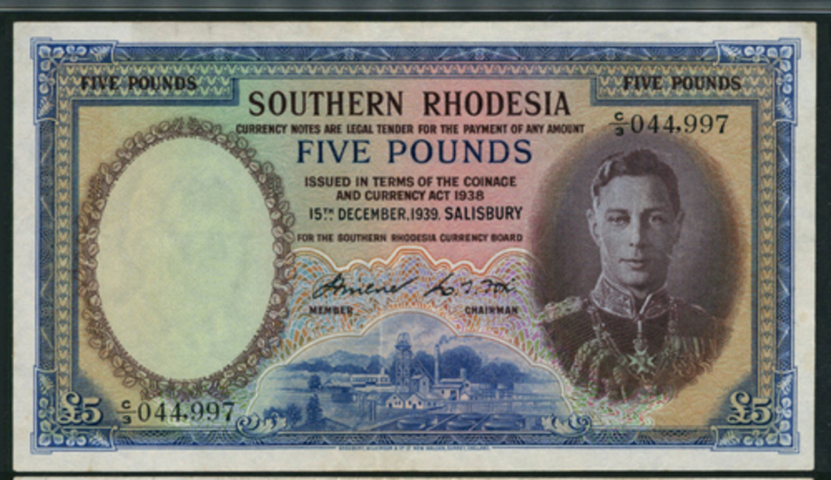 Quality: PMG 35 Choice Very Fine Southern Rhodesia £5 of 15 December 1939 (P-11a) and likely one of the finest extant. It will be offered at Spink's sale of The Bruce Smart Collection of The British Commonwealth Part 2 in London on Sept. 27. (Image courtesy and © Spink, London)