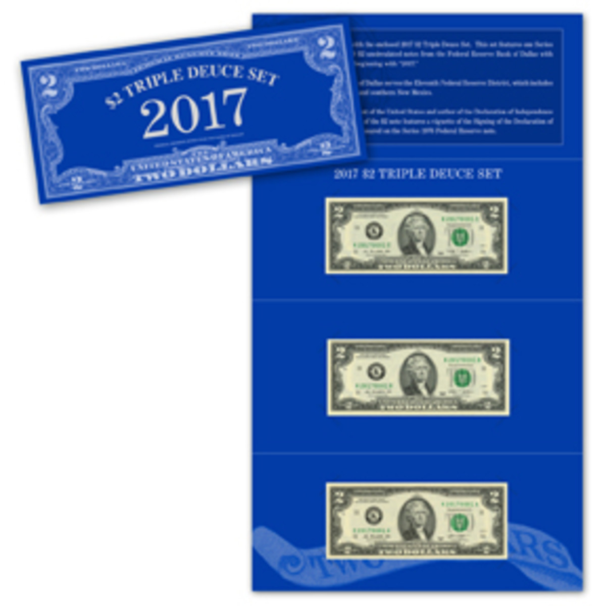"""The BEP's new set includes Series 2013 and Series 2009 $2 notes beginning with """"2017"""" serial numbers."""