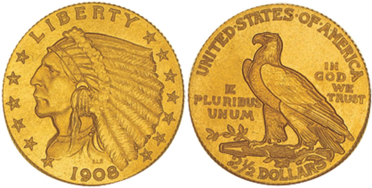 Denomination: $2.50 Weight: 4.18 grams Diameter: 18 mm Composition: .900 gold Actual Gold Weight: .1202 oz Dates Minted: 1908-1915, 1925-1929 Designer: Bela Lyon Pratt