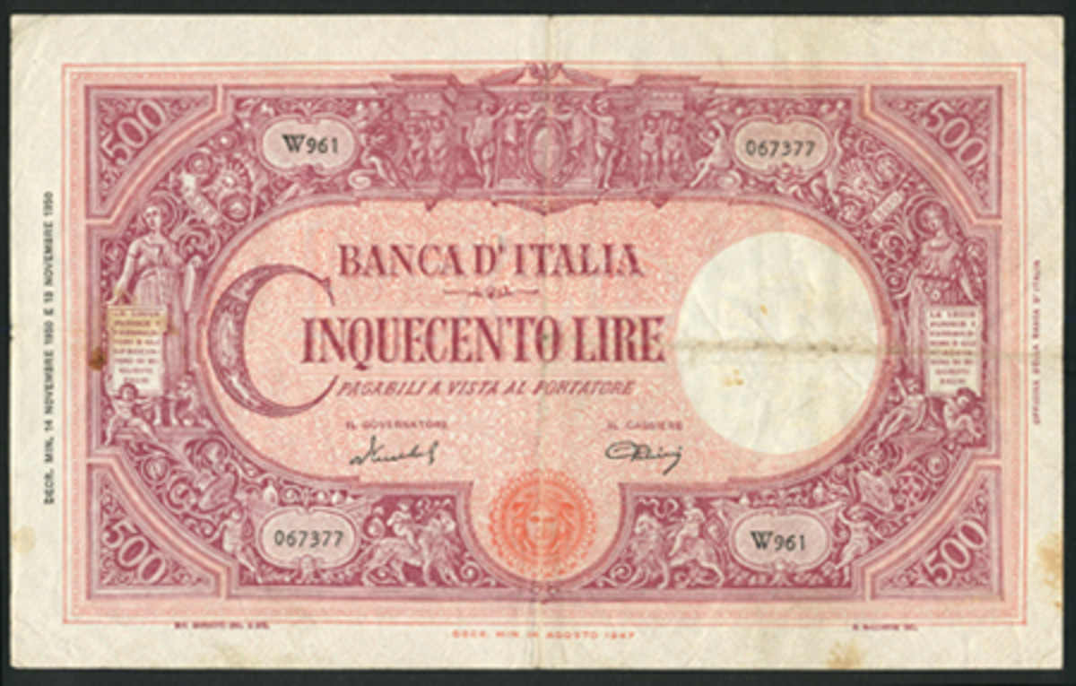 Banca d'Italia 500 lire of Nov. 14, 1950 (P-90) that carries a £2,000-3,000 estimate in about VF. (Image courtesy and © Spink, London)