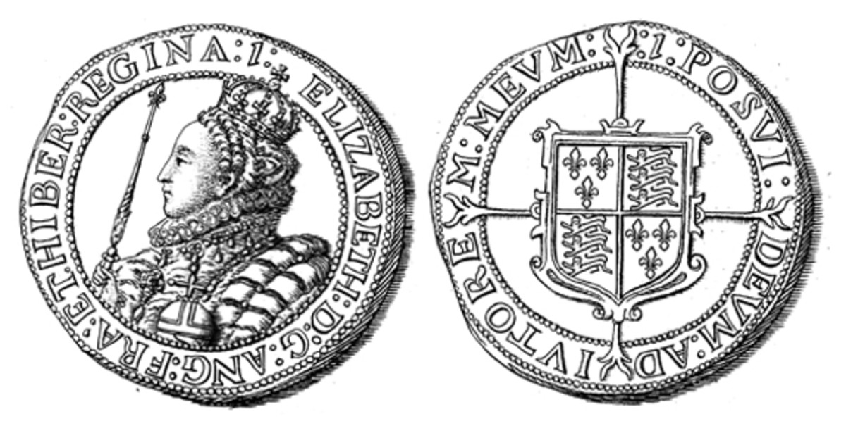 The 1601 silver crown (5 shillings) carries the portrait of Queen Elizabeth I. Her reign ended in 1603.