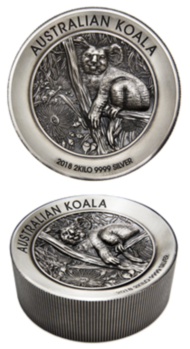 Perth Mint's two-kilo antiqued silver Koala. (Images courtesy and © The Perth Mint)