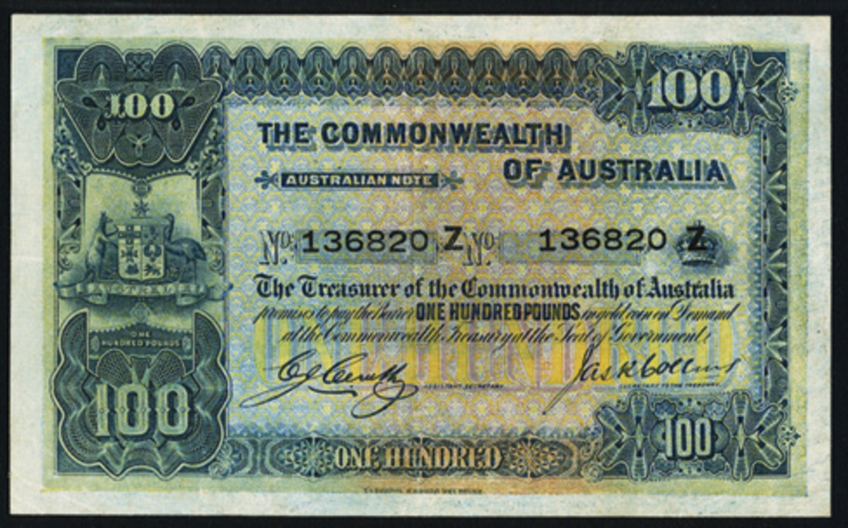 Face of the top-selling item from Heritage Auctions' Long Beach world currency sale, ex-Dauer Collection: Australian 100 with Z serial suffix (P-9b, R-69a). In PMG Very Fine 30, it realized US$43,200. (Images courtesy www.ha.com)