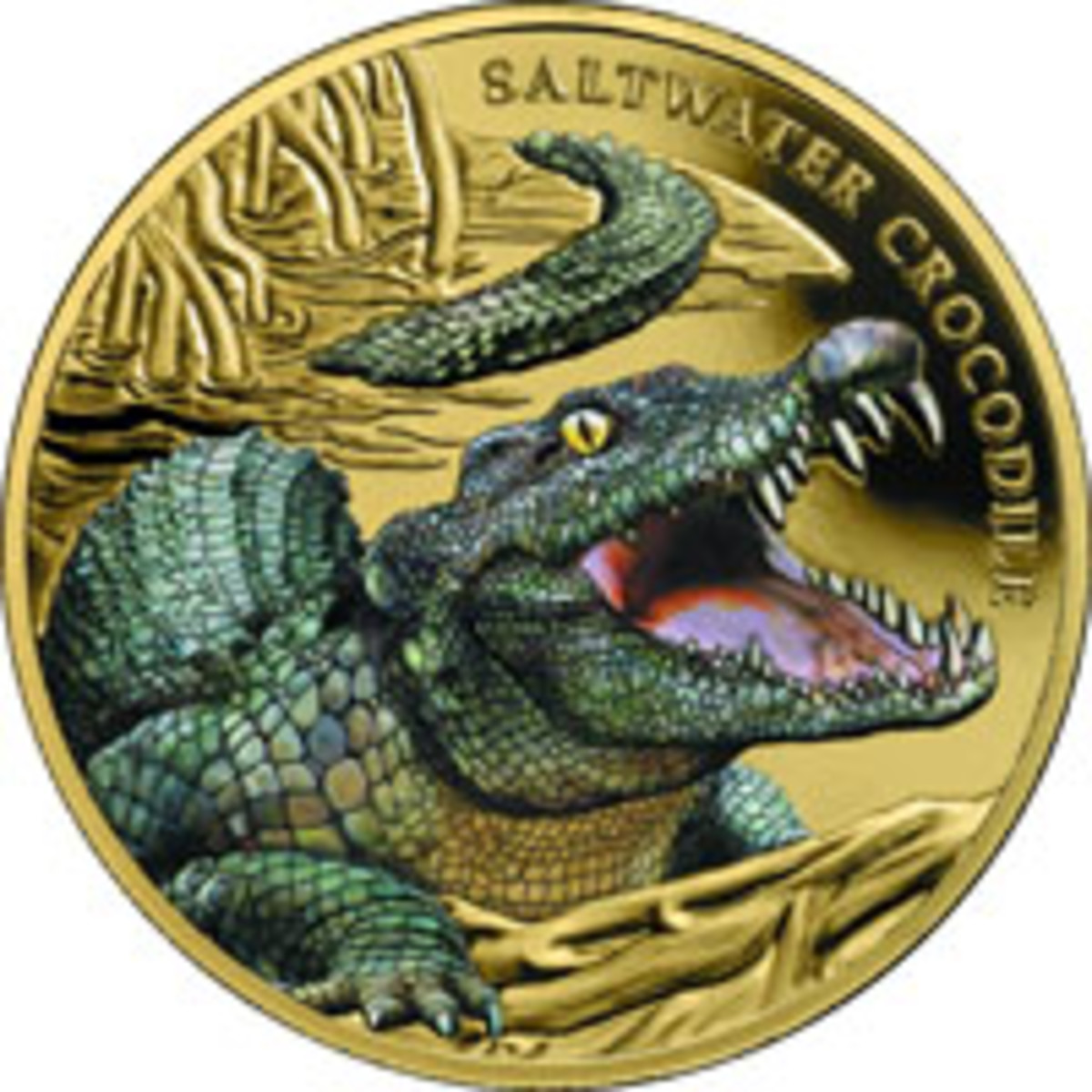 A smiling Saltwater Crocodile invites collectors to dinner on the reverse of this 2018 gold Niuean $100. (Image courtesy Downies)