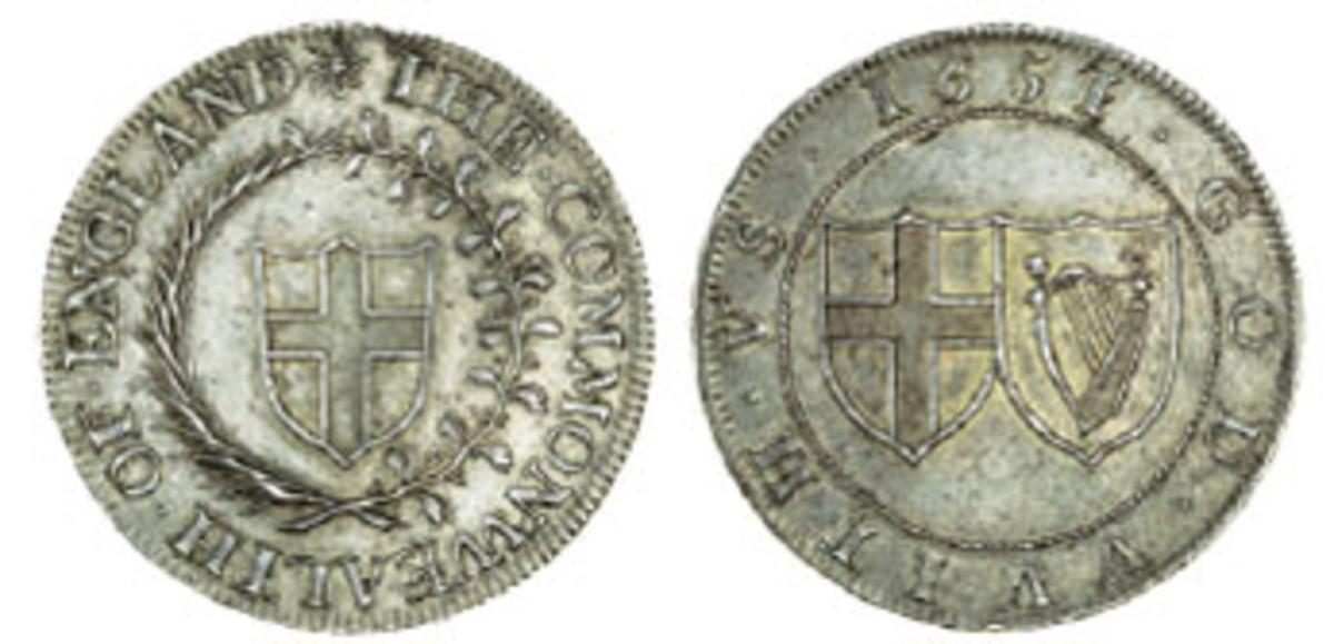 The only known specimen of this Commonwealth of England pattern halfcrown, of 1651 which made $41,952 in gEF. (Images courtesy and © Spink, London)