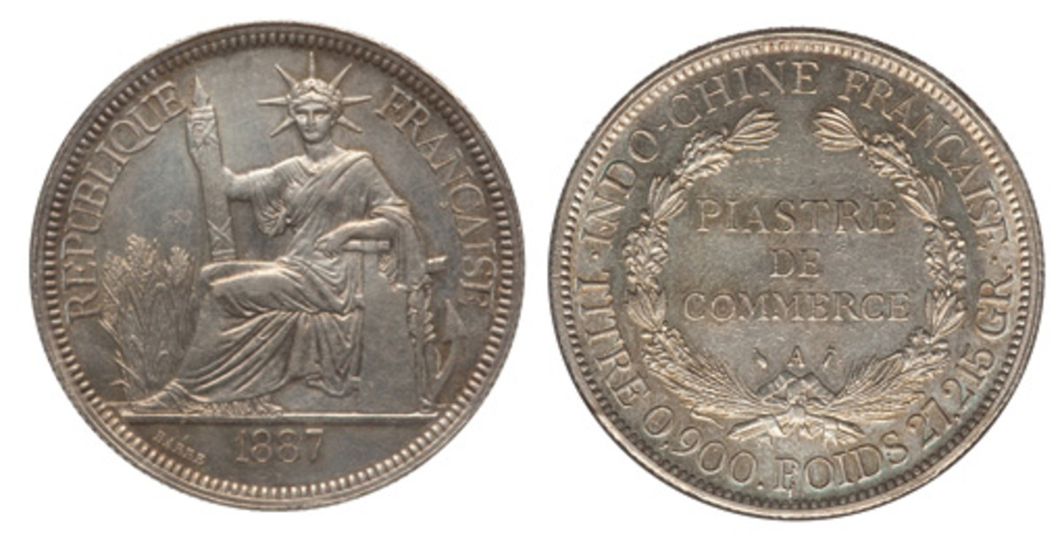 """A French Colony Piastre 1887-A has been known as the """"Seated Statue of Liberty dollar"""" as you'll see the likeness on the obverse to our own Lady of Liberty in New York. (Images courtesy of Heritage)"""