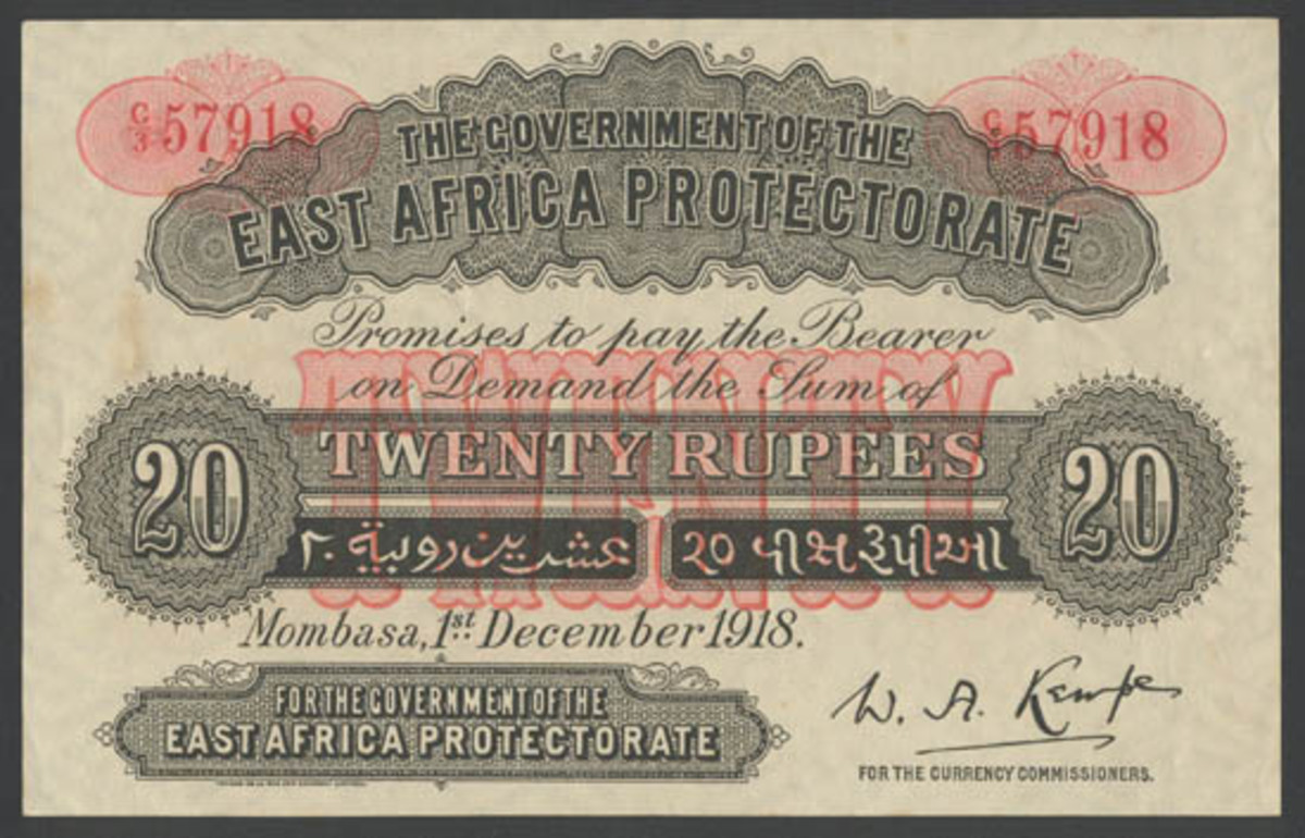 Seldom seen, let alone offered, 20 rupees of 1 December 1918 (P-3) that comes graded PCGS 58 and will carry an estimate c. $20,000 in Spink's October 4 sale. (Image courtesy and © Spink, London)