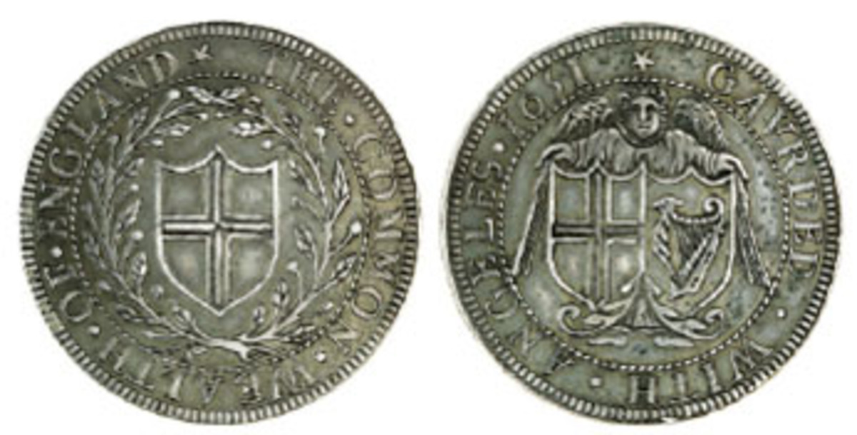 """""""Of the highest rarity"""": the contentious Commonwealth of England pattern halfcrown of 1651 (KM-391.2) that fetched $72,595 in aEF. (Images courtesy and © Spink, London)"""