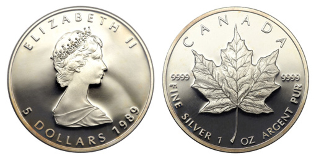 This 1989 Queen Elizabeth II Proof Maple Leaf Silver 5 Dollar is a pure ounce of silver from our northern neighbors, ideal for many collectors. (Images courtesy of Heritage)
